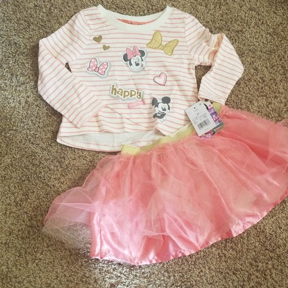928c9c6a7 Disney Matching Sets | Minnie Mouse Long Sleeve Top And Tutu Set ...